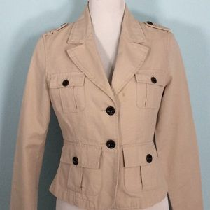 Tempted Khaki 100% Cotton 2 Button 4 Pocket Blazer